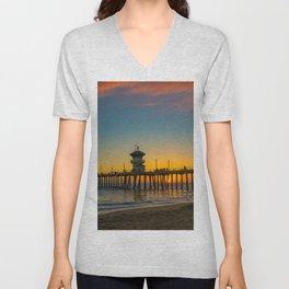 September Skies Over Huntington Beach Pier Unisex V-Neck