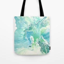 Breathe Blue Abstract Print Tote Bag