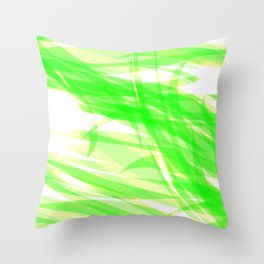 Green and smooth sparkling lines of light green ribbons on the theme of space and abstraction. Throw Pillow