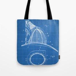 Firemans Helmet Patent - Fireman Art - Blueprint Tote Bag
