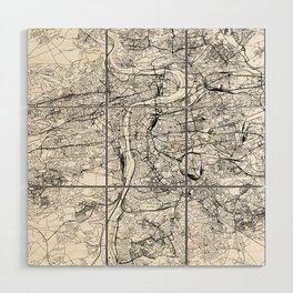 Prague White Map Wood Wall Art