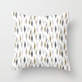 Danish Diamond Mid-Century Geometric Print Tan Throw Pillow
