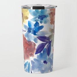 hand painted flowers_3c Travel Mug