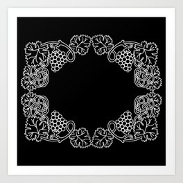 Abstract frame with bunches of grapes Art Print