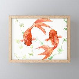 Koi Fish, Feng Shui, Goldfish art, Two fish, Framed Mini Art Print