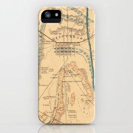 Vintage Map of The Gettysburg Battlefield (1864) iPhone Case