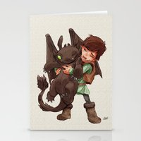 hiccup Stationery Cards featuring Hiccup & Toothless - Childhood  by David Tako