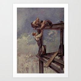 Engineering Wonders of the World 1909 - Building a sky-scraper Art Print