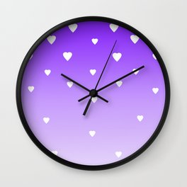 Purple Ombre with White Hearts Wall Clock