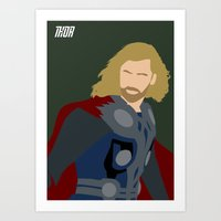thor Art Prints featuring Thor by TheWonderlander