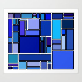 50 shades of blue Art Print
