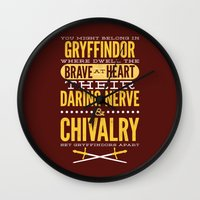 gryffindor Wall Clocks featuring Gryffindor by Dorothy Leigh