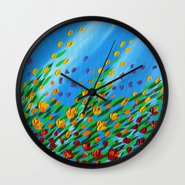 poppies in the wind and sun Wall Clock