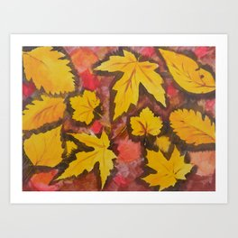 Autumn Leafs Red Yellow Brown Fall pattern based on the acrylic painting Art Print