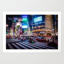 Here we go!!real mario cart at Shibuyacrossing Art Print