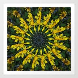 Large Yellow Wildflower Kaleidoscope Art 12 Art Print