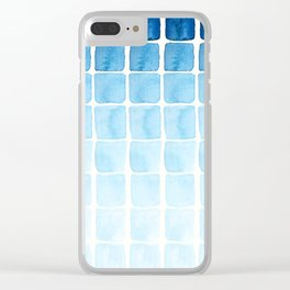 Watercolour Blue Seaside Squares Pattern Clear iPhone Case