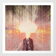 Headless man in the woods Art Print
