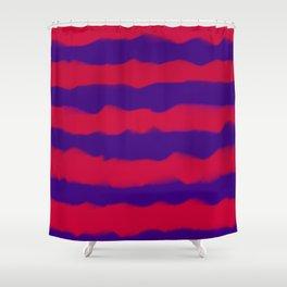 Deep Rich Ruby & Sapphire Indigo Stripes Shower Curtain