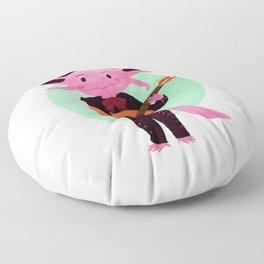 Axolotl with mariachi costume playing the guitar, Digital Art illustration Floor Pillow