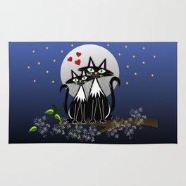 Spring cats in love, vector illustration Rug