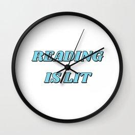 READING IS LIT blue Wall Clock