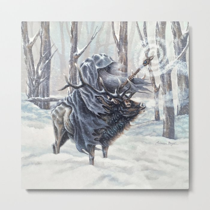 Wizard Riding an Elk in the Snow Metal Print