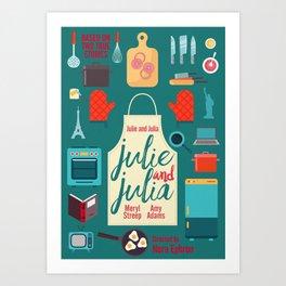 Julie and Julia, minimal movie poster, Meryl Streep, Amy Adams, Nora Ephron film, Julia Child, cook Art Print