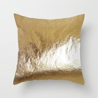 gold foil Throw Pillows featuring Gold Foil by The Wellington Boot
