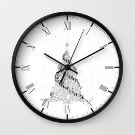 White Christmas Tree Wall Clock