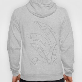 Minimal Line Art Banana Leaves Hoody