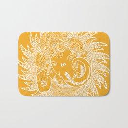 Ganesha Lineart Yellow White Bath Mat