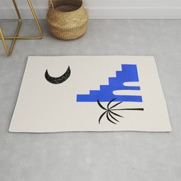 Ultramarine Blue Minimalist Modern Mid Century Ancient Ruins Architecture Moon Lit Palm Trees by Ejaaz Haniff Rug
