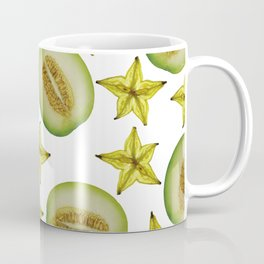 Melon and Starfruit pattern Design White Coffee Mug