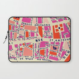 paris map pink Laptop Sleeve
