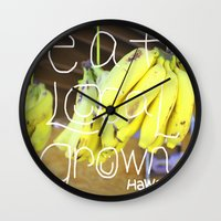 eat Wall Clocks featuring eat by kyox art hawaii