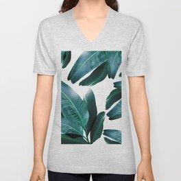 Banana leaf, Tropical palm leaf, banana palm, Flowing palms, blues, turquoise, Hawaii, beach decor Unisex V-Neck