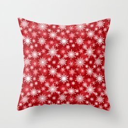 Christmas pattern. Lacy snowflakes on a red background. Throw Pillow