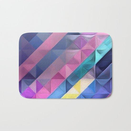 Geometric Abstract Pastel Rainbow Bath Mat