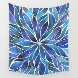 Floral Vines - Blue Wall Tapestry