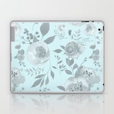 light blue and gray floral watercolor print Laptop & iPad Skin