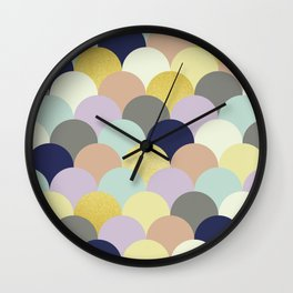 Golden and colorful spheres II Wall Clock