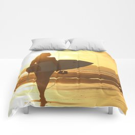 Surfer on the Beach (Woman) Comforters