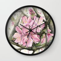 cherry blossom Wall Clocks featuring Cherry Blossom by Olechka