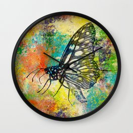 Coloured Butterfly Wall Clock