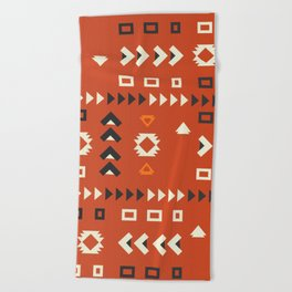 American native shapes in red Beach Towel