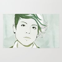 tegan and sara Area & Throw Rugs featuring Tegan by GirlApe