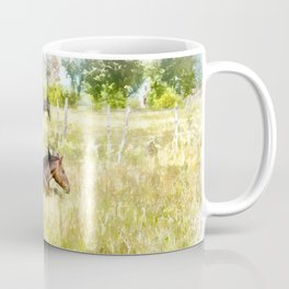 Horses Grazing in the Field.  Watercolor Painting Style. Coffee Mug