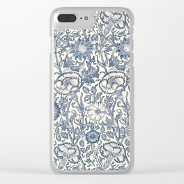 William Morris Navy Blue Botanical Pattern 6 Clear iPhone Case
