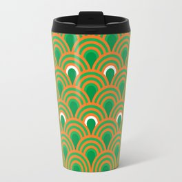 retro sixties inspired fan pattern in green and orange Travel Mug